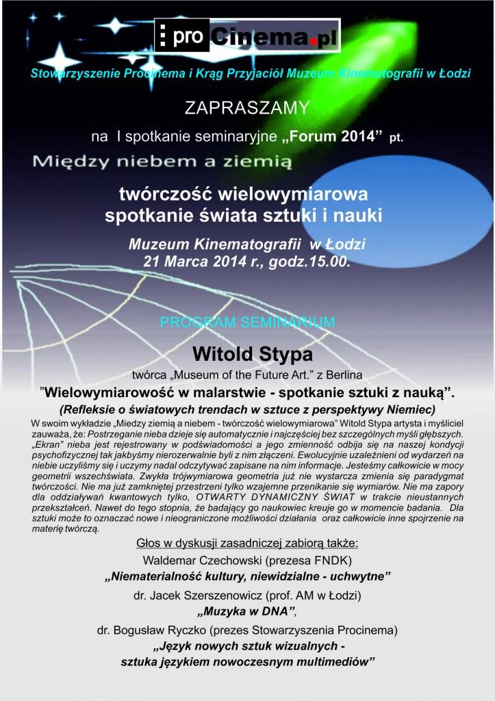 PROCINEMA - zaproszenie 21 marca 2014 godz 15 - 1